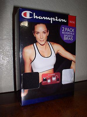 New 2-Pack MED Blk/Wht Women's CHAMPION Seamless Sports Bra Reversible to Mesh