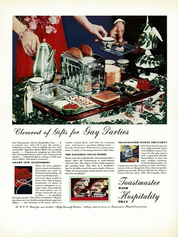 1930s BIG Original Vintage Toastmaster Art Deco Toaster Food Photo Print Ad