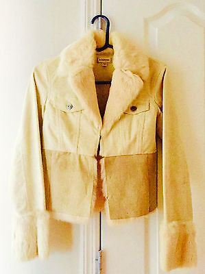 ';p]Bebe Ivory corduroy Jacket with Rabbit Fur Trim  for sale  Long Island City