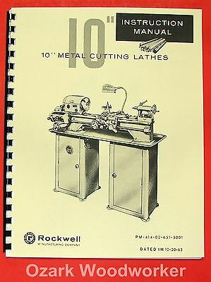 Rockwell 10 Cabinet Metal Lathe Older Operator Parts Manual 0589