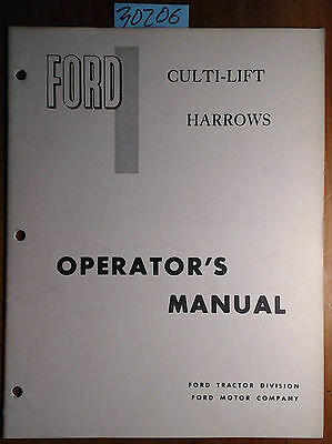 Ford Culti-lift Harrow For Use With 208 Field Cultivator Owner Operator Manual