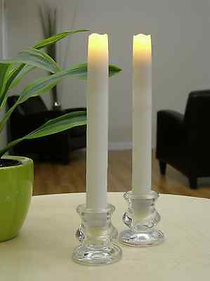 (Flipo Pacific Accents Set of 2 Flameless LED Taper Candles Wax Tapers with Timer)