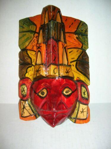 Wooden Mask  Hand Made Carved & Painted Aztec Maya Folk Art Wall Decor