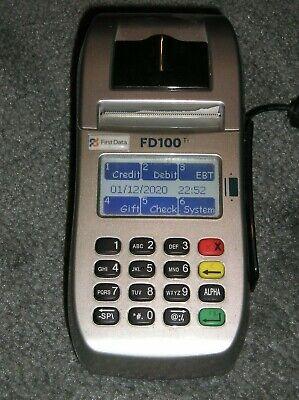 First Data Fd100ti Credit Card Machine W Fd-35 Keypad 3-way Terminal Used