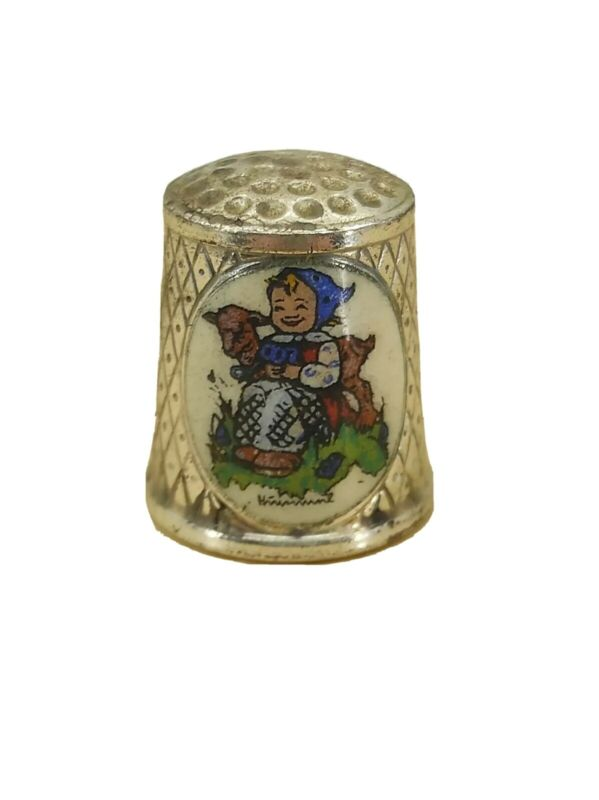 1986 Limited Edition Hummel Thimble Silver Plated Girl Milk Maid