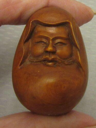vtg Japan carved BOXWOOD IMMORTAL FACE NETSUKE roly poly egg-shaped signed