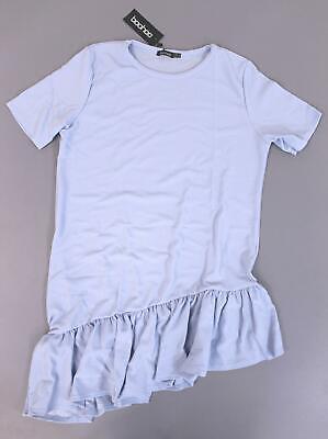 Boohoo Women's Plus Asymmetric Hem Shift Dress MC7 Powder Blue Size US:14 NWT