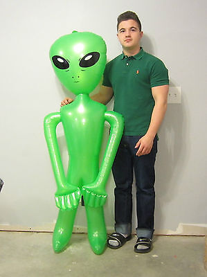 """1 NEW INFLATABLE GREEN SPACE ALIEN 60"""" BLOW UP INFLATE ALIENS HALLOWEEN GAG GIFT"""