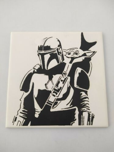 The Mandalorian laser engraved tile.