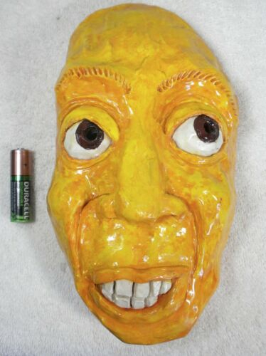 Hand-Cast UGLY MAN Fired Clay Mask Wall Hanging