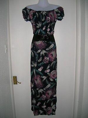"26/"" Bust n-80h Next Grey Parrot Print Linen Blend Pocket Shift Dress Size 22"
