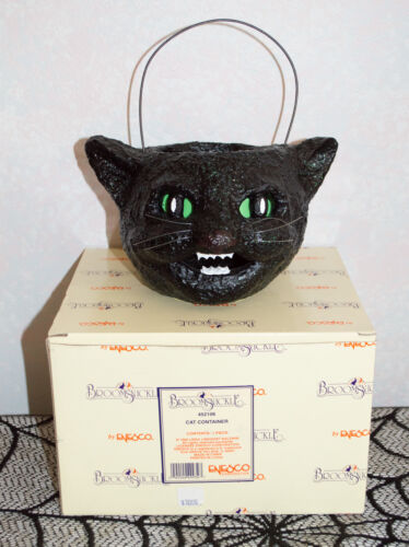 NIB Vintage 1998 Enesco BROOMSNICKLE  Halloween Black Cat Container