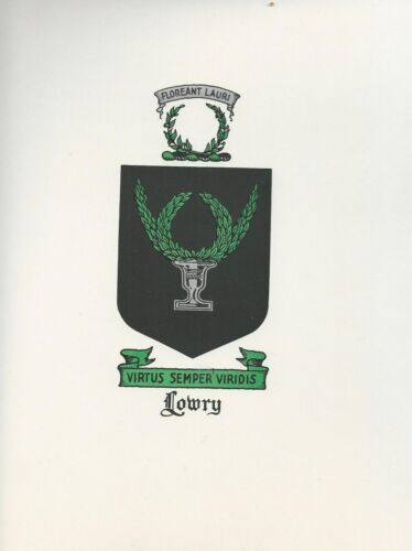 Great Coat of Arms Lowry Crest genealogy, would look great framed!