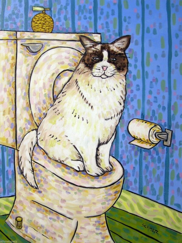 FLUFFY CAT bathroom picture  art print 11x14