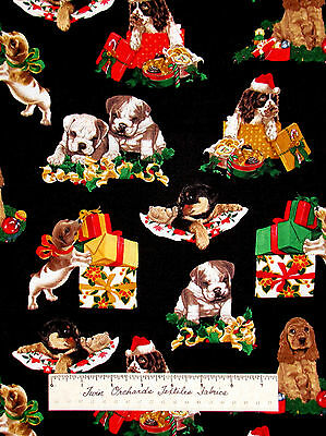 Christmas Holiday Dogs Presents Bones - Timeless Treasures Cotton Fabric Yards
