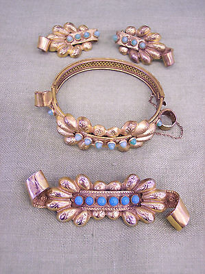 Very rare vintage signed SANDOR Goldberger bracelet pin earrings set VERY BEST on Rummage