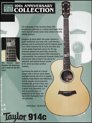 Taylor 914c Acoustic Guitar Magazine 10th Anniversary Giveaway Contest ad print (Musical Instrument Giveaways)