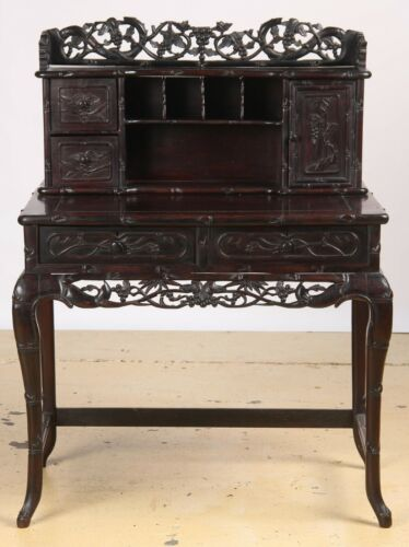 Antique Japanese Intricately Carved rosewood in Bamboo Motif Desk. Circa 1880