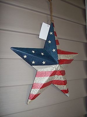"""Patriotic Barn Star Americana 12"""" Red White Blue Wall Flag Distressed Rustic"""