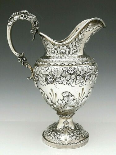 Early S KIRK Coin Silver PITCHER Grapes Vines Leaves Floral 53 oz