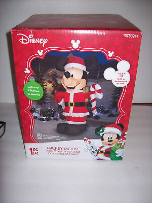 Santa Inflatable (Gemmy Disney Santa Mickey Mouse  with Candycane  Inflatable 10.5 FT )