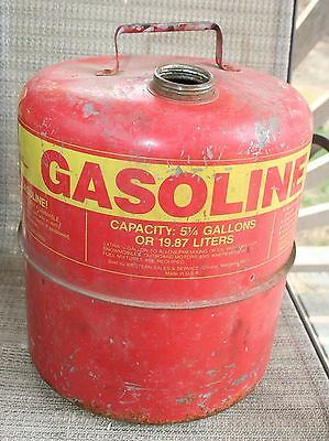 Vtg Western Metal Gas Can Usa 5 14 Gallon