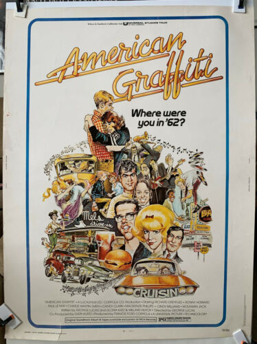 American Graffiti 1973 Original 30x40 movie poster Dreyfuss Howard George Lucas
