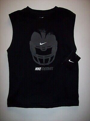 Nike Shirt Boys Muscle Graphic Crew Neck 6 7 Swoosh Football Helmet Black NWT - Black Muscle Boys