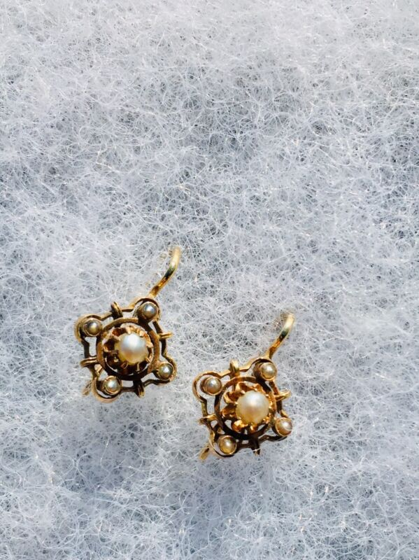 ANTIQUE VICTORIAN SEED PEARL EARRINGS 14K YELLOW GOLD