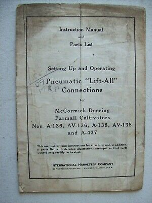 Original Mccormick Lift All Farmall A Av Cultivators  Owners Parts Manual