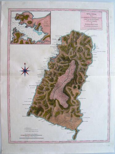 Antique Map of Saint Lucia: West Indies: R. Sayer & T. Jefferys: London, 1775