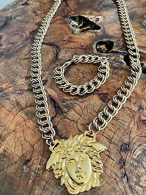 Iconic GIANNI VERSACE gold-tone Medusa medallion chain necklace & Bracelet 90's