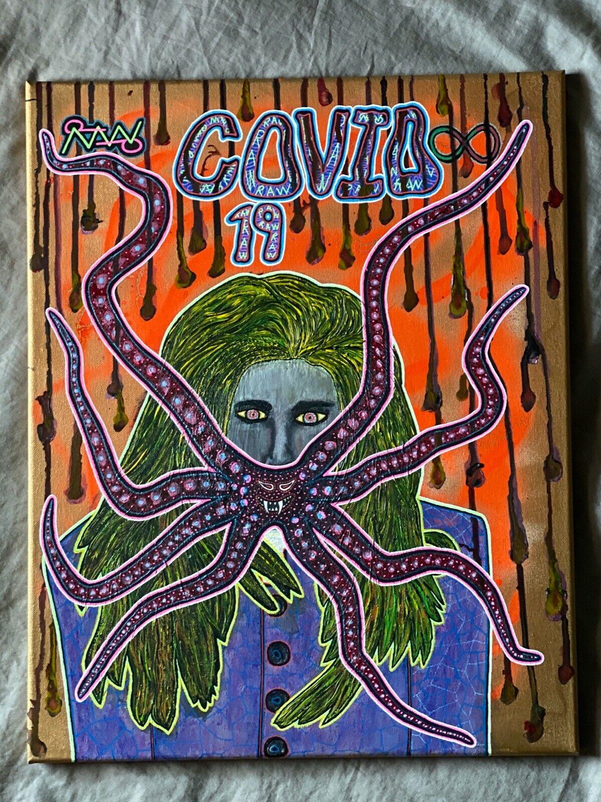 Contemporary Art C0VID-19 Spray, Acrylic Canvas RabidArtWork NYC Graffiti  - $350.00