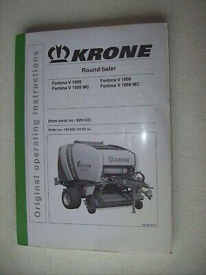 Krone Round Baler Fortima V 1500 V 1500 Mc V 1800 V 1800 Mc Operator Manual