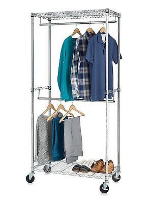 Double Hanging - 2 Double Hanging Bar Garment Rack-Chrome