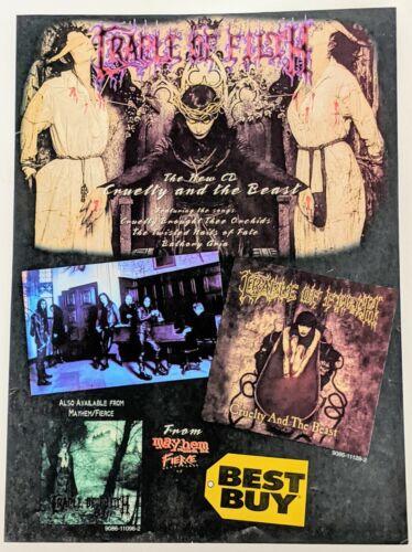 CRADLE OF FILTH / 1998 CRUELTY AND THE BEAST LP / ALBUM MAGAZINE PRINT AD + DVD
