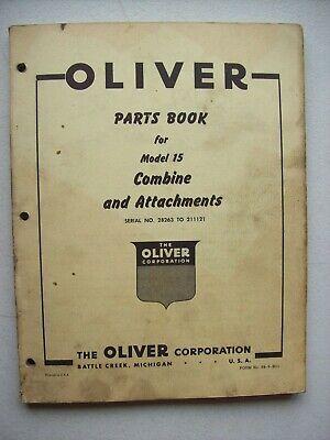 Original Oliver Model 15 Combine Attachments Parts Book Manual