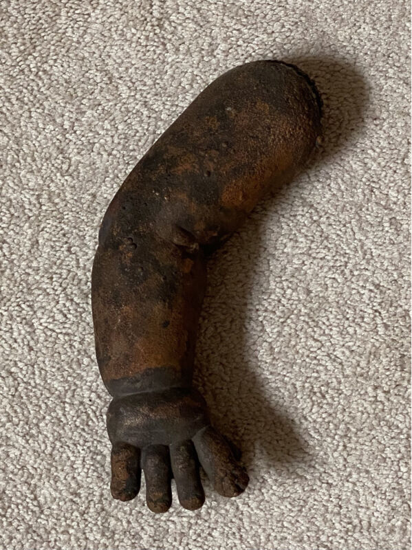Vintage Industrial Cast Iron Mold Doll Arm Copper