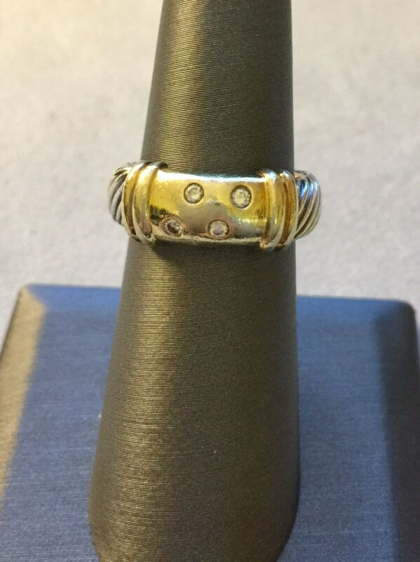 David Yurman Sterling Silver 14k Gold Diamond Metro Ring Sz 7