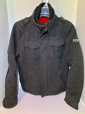 Abercrombie And Fitch Mens Large Wool Blend Bomber Jacket Full Zip And Buttons