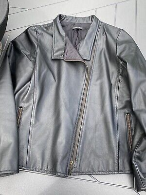 Eileen Fisher black leather moto jacket size L, mint condition