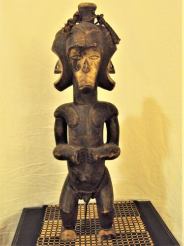 STUNNING FANG POWER RELIQUARY BYERI African Carving Statue TRIPLE HEADED XRARE!!