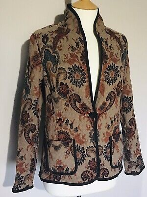 Kasper Autumn Floral Paisley Tapestry Victoriana Cotton Mix Jacket 12 Country