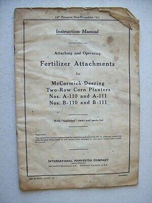 Original International Fertilizer Attachment For Two Row Corn Planter Manual