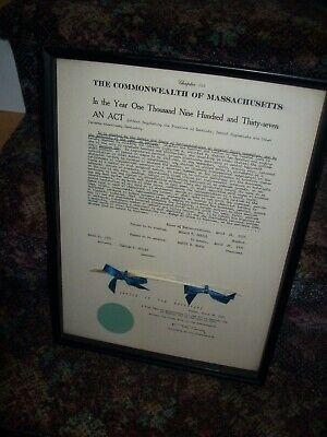Antique Massachusetts Dentistry Regulating Act 1937 Framed Signed Sealed