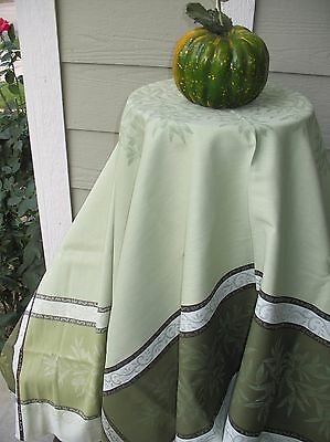 "FRENCH JACQUARD TABLECLOTH 'Olive' 75"" x 60""  PROVENCE Teflon Coated Sterile Green"