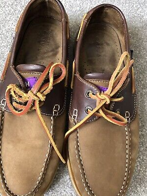 HUSH PUPPIES MENS BROWN LEATHER DECK SHOES SIZE 9 EXC COND