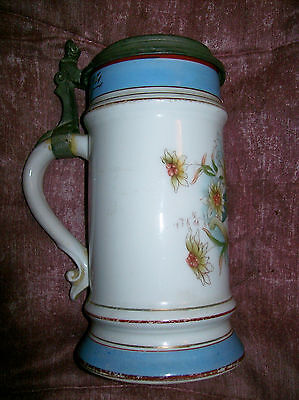 German Beer Stein-Porcelain-Pewter Lid approx 7 3/4 inchs tall
