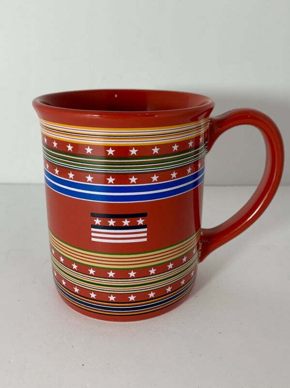 PENDLETON Grateful Nation Stars and Stripes Red Coffee Mug Tea Cup 18oz EUC