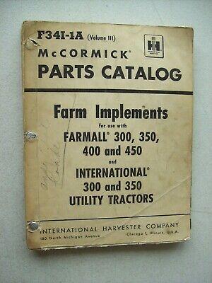 Original Mccormick Farm Implements Farmall Parts Catalog Manual F34i-1a Vol. 111